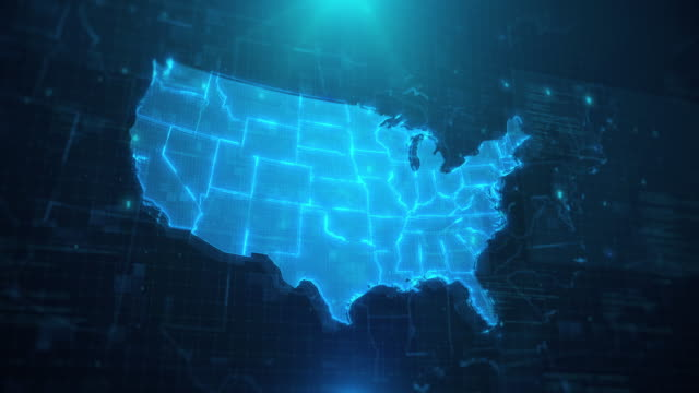 usa map with states against blue animated background 4k uhd - american culture stock videos & royalty-free footage