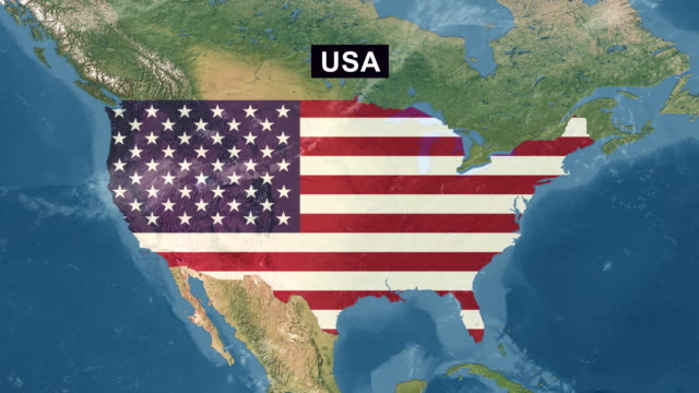 USA Map with USA Flag, zoom in to USA terrain map from wide perspective view