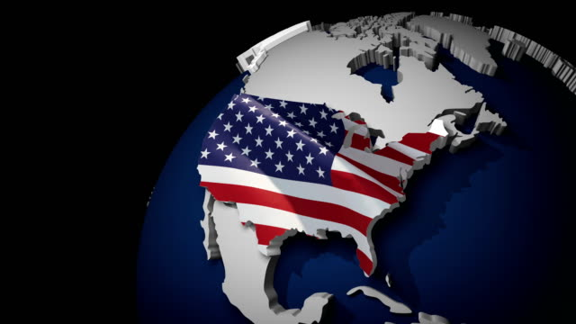 usa map with usa flag, zoom in to usa terrain map, waving flag of the united states of america overlaid on detailed outline map isolated 4k - folded stock videos & royalty-free footage