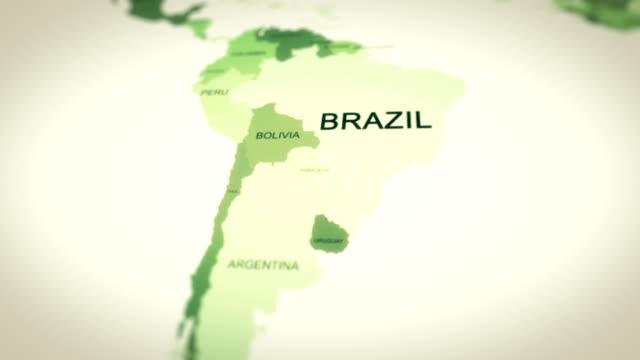 vídeos de stock, filmes e b-roll de mapa, mapa do mundo, brasil - américa do sul