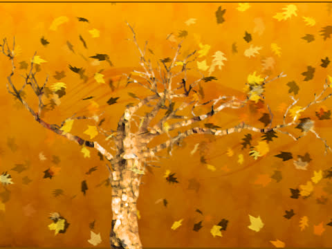 stockvideo's en b-roll-footage met maple leaves flying over a bare tree - bare tree
