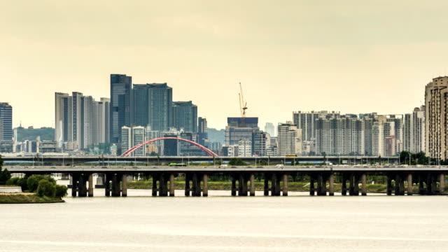 mapo cityscape with hangang bridge and seogang bridge / seoul, south korea - seoul stock videos & royalty-free footage