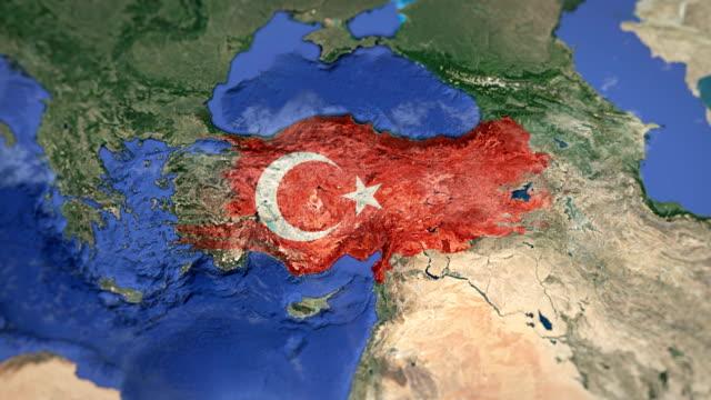 4kマップアニメーション(七面鳥) - トルコ国旗点の映像素材/bロール