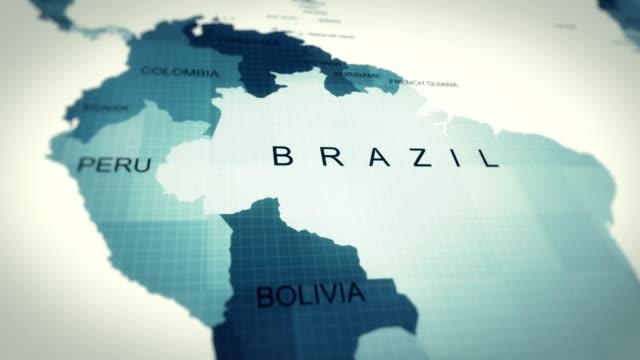 vidéos et rushes de 4k maps animation, carte du monde brésil - amérique du sud