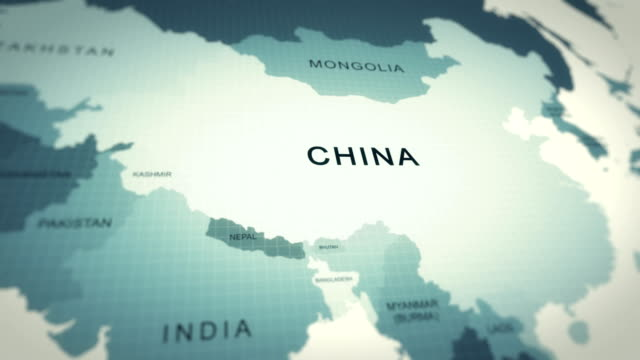 4kマップアニメーション、世界地図中国 - 戦い点の映像素材/bロール