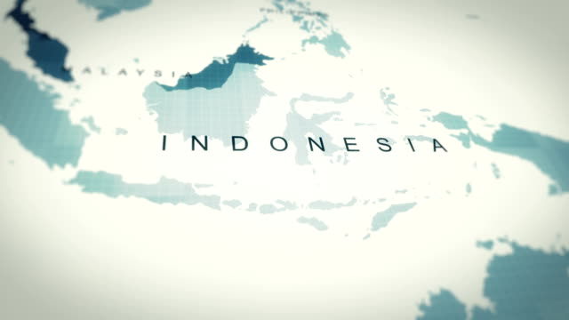 vídeos de stock e filmes b-roll de 4k maps animation, world map indonesia - indonesia