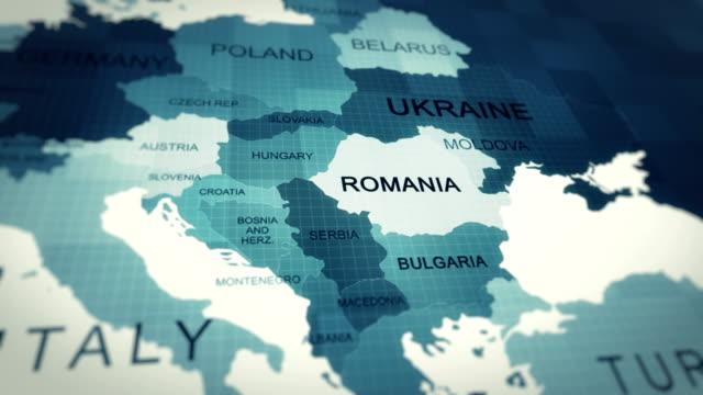 vídeos y material grabado en eventos de stock de animación de mapas 4k, mapa mundial rumania - europa continente