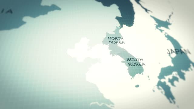 4kマップアニメーション、世界地図韓国 - 戦争点の映像素材/bロール