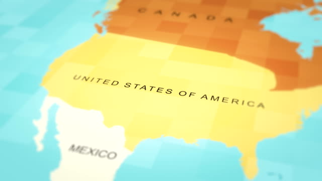 4kマップアニメーション。世界地図(米国) - 戦い点の映像素材/bロール