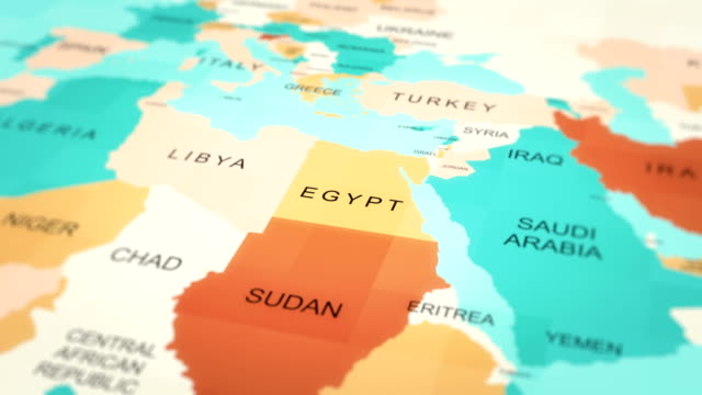 4k maps animation. world map. (egypt) - middle east stock videos & royalty-free footage