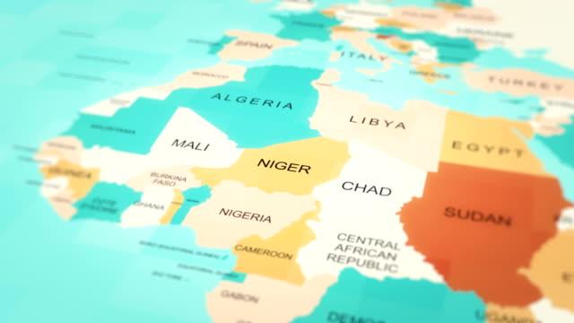 4kマップアニメーション。世界地図(ニジェール) - ニジェール点の映像素材/bロール