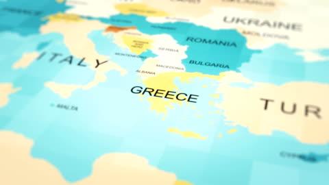 vídeos y material grabado en eventos de stock de animación de mapas 4k. mapa del mundo. (grecia) - grecia europa del sur