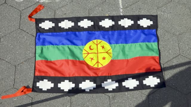 mapuche flag - the mapuche conflict is a phenomenon mainly from chile, but also from neighboring areas of argentina. demands revolve mainly around... - native american ethnicity stock videos & royalty-free footage