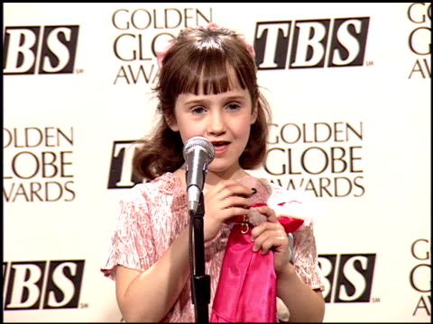 mara wilson at the 1995 golden globe awards at the beverly hilton in beverly hills california on january 21 1995 - golden globe awards stock videos & royalty-free footage