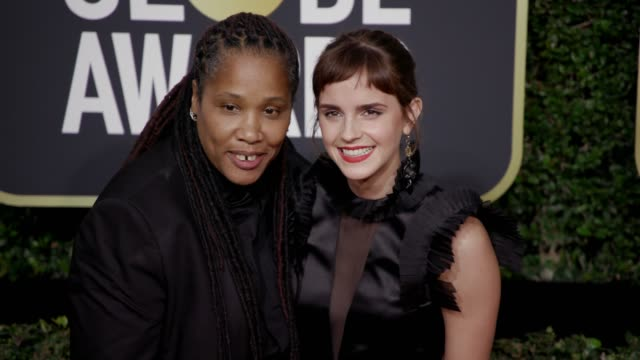 Marai Larasi and Emma Watson at the 75th Annual Golden Globe Awards at The Beverly Hilton Hotel on January 07 2018 in Beverly Hills California
