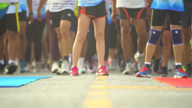 marathon at start - finishing line stock videos & royalty-free footage
