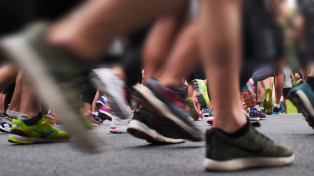 marathon runners feet - competitive sport stock videos & royalty-free footage