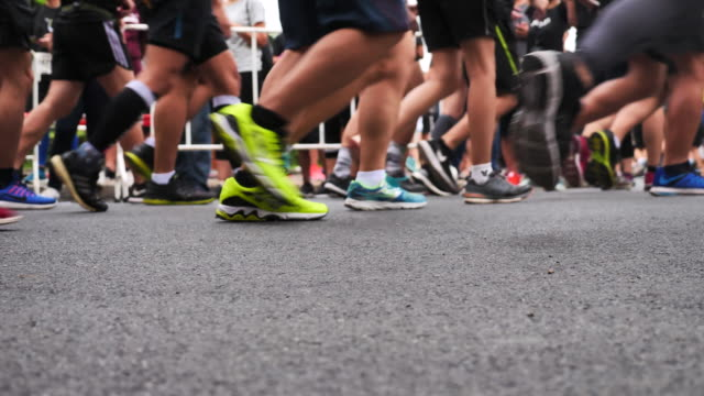 Marathon runners in slow motion