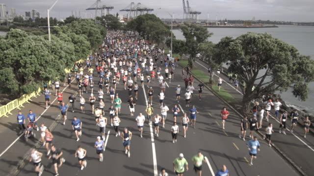 HA, WS, Marathon runners on road, Tamaki Drive, Auckland, New Zealand