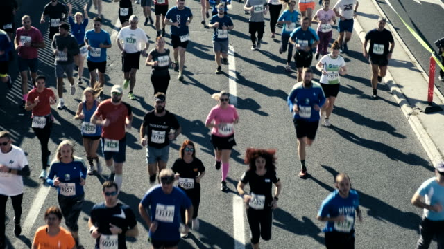 marathon runners - large group of people stock videos & royalty-free footage