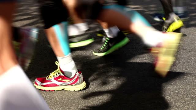marathon running - racewalking stock videos and b-roll footage