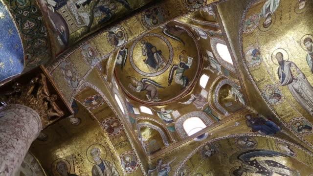 Maratona, Santa Maria dell'Ammiraglio church, interior of the church, view of the mosaics on the ceiling, Palermo, Sicily.