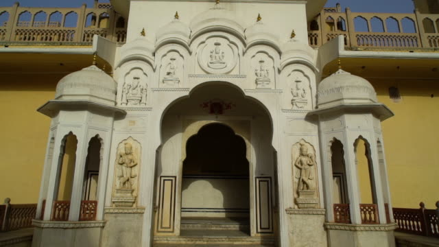 marble archway in courtyard of the hawa mahal. - mughal empire stock videos and b-roll footage