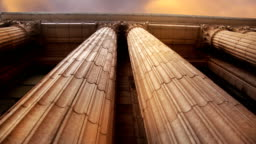 Marble Columns Pan Left to RIght