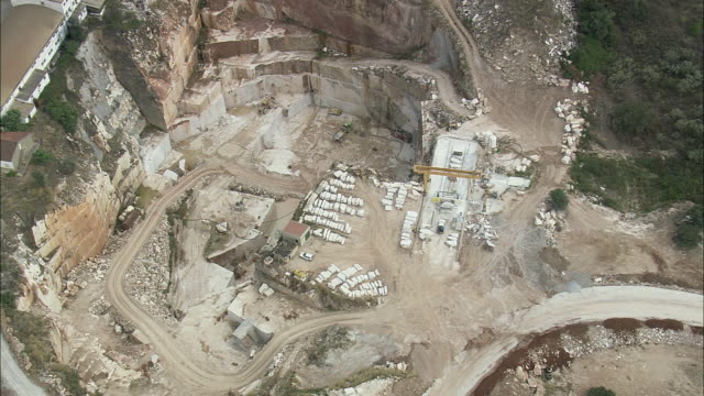 aerial ws marble quarry / evora monte, evora, portugal - marble stock videos & royalty-free footage