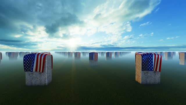 marble tombstones covered with usa flag at cloudy us national cemetery - top hat stock videos & royalty-free footage