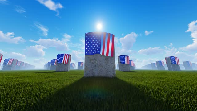 marble tombstones covered with usa flag at us national cemetery - top hat stock videos & royalty-free footage