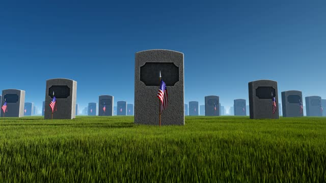 marble tombstones with usa flag at us national cemetery.memorial day concept - top hat stock videos & royalty-free footage
