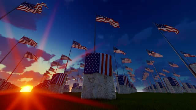 marble tombstones with waving usa flags at us national cemetery - top hat stock videos & royalty-free footage