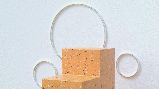 marmo giallo gradini astratto podio 3d rendering movimento - marmo roccia video stock e b–roll