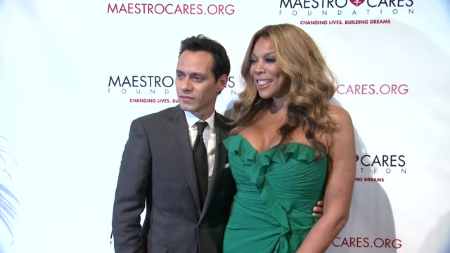 marc anthony and wendy williams at maestro cares first annual gala dinner - new york at cipriani, wall street on february 18, 2014 in new york city. - cipriani manhattan stock videos & royalty-free footage
