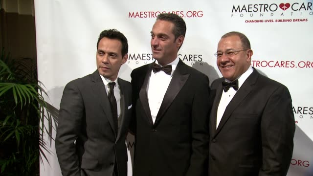 marc anthony, carlos slim domit and henry cardenas at maestro cares first annual gala dinner - new york at cipriani, wall street on february 18, 2014... - cipriani manhattan stock videos & royalty-free footage