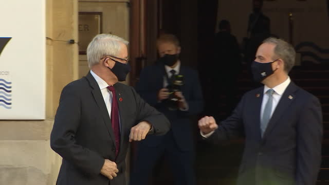 marc garneau, canadian foreign minister, arrives at lancaster house for g7 foreign ministers meeting, greeted by foreign secretary dominic raab - canadian politics stock videos & royalty-free footage