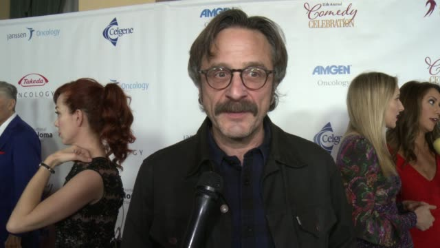 vídeos de stock e filmes b-roll de marc maron on can you tell us how you got involved in this year's event, and why it's important for you to support this cause, on what can we expect... - wilshire ebell theatre