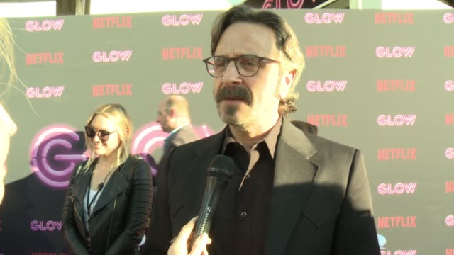 interview marc maron on what glow is working on a female driven show as a guy with so many women in the cast and crew why female empowerment is... - cinerama dome hollywood stock videos and b-roll footage