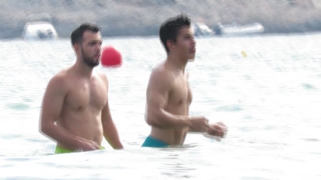 marc marquez is seen in ibiza - marc marquez video stock e b–roll