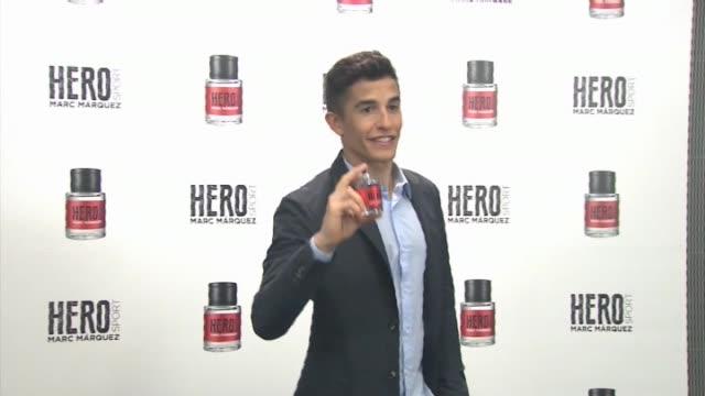 marc marquez presents his fragance 'hero sport' - marc marquez video stock e b–roll