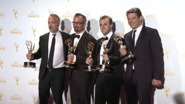 marc smerling andrew jarecki zac stuartpontier and jason blum at the 2015 creative arts emmy awards at microsoft theater on september 12 2015 in los... - emmy awards stock-videos und b-roll-filmmaterial