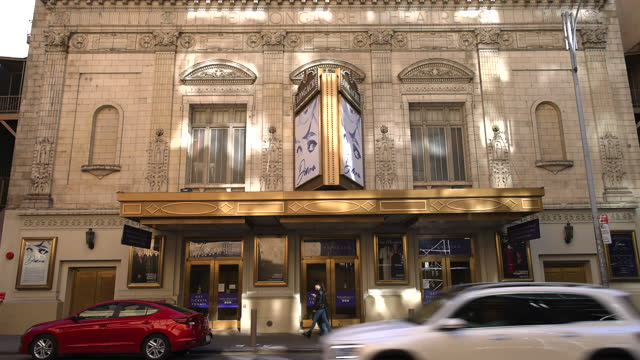 march 13: after one year epidemic of coronavirus disease, the number of visitors has still reduced around the longacre theatre in saturday afternoon... - pandemic illness stock videos & royalty-free footage