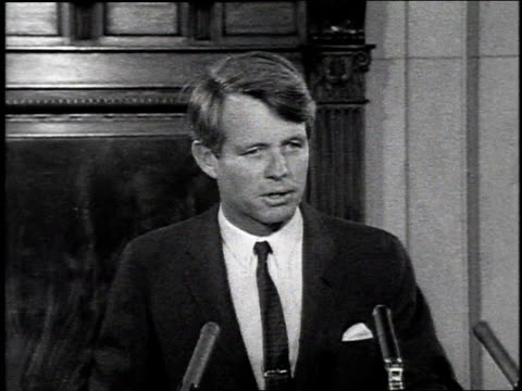 March 16 1968 MONTAGE Robert Kennedy announcing candidacy for President of the United States / Washington DC United States