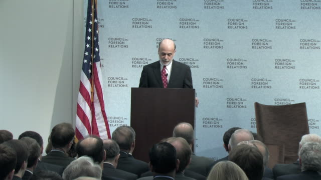 march 2009 ms pan zi ben bernanke us federal reserve board chairman walking to podium and introducing his speech about the economic crisis and the... - federal reserve stock videos & royalty-free footage