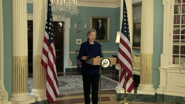 March 2009 WS ZI Hillary Clinton US Secretary of State making a statement about an earlier meeting with Chinese Foreign Minister Yang JieChi and...