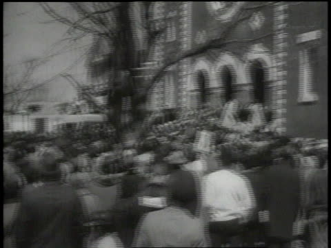 March 21 1965 MONTAGE Crowd gathers to listen to Martin Luther King speak / Selma Alabama United States