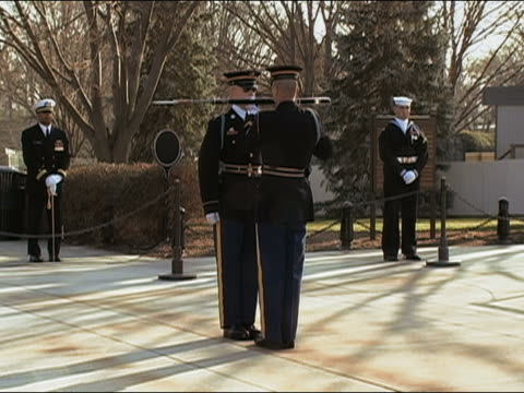 march 22 2005 changing of guard rifle inspection at tomb of unknown soldier / arlington virginia - アーリントン国立墓地点の映像素材/bロール