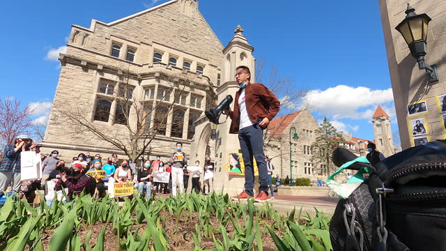 march 24, 2021; bloomington, indiana: simon luo, a phd candidate in political science, speaks during the gathering against asian hate at iu's sample... - georgia us state stock videos & royalty-free footage