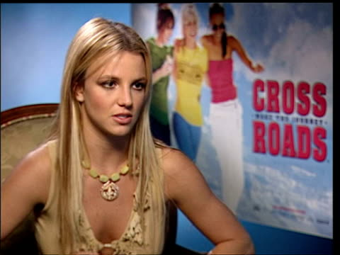 march 25, 2002 britney spears being interviewed during the press junket for her film 'crossroads'/ london, england/ audio - 2002 stock videos & royalty-free footage